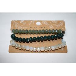 Armband 3 x groen/wit kralen