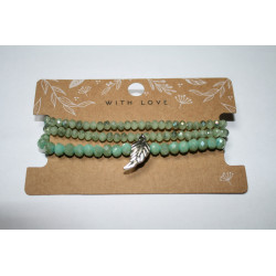 Armband 3 x groen met veer