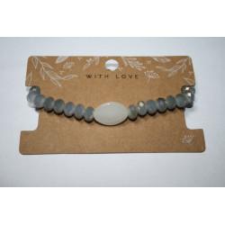 Armband 1 x grijs met steen