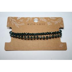 Armband 2 x zwart/goud kralen