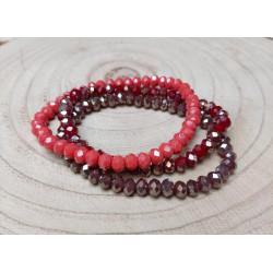 Armbandjes 3x Rood kralen