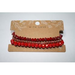 Armband 3 x rood kralen