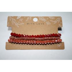 Armband 3 x rood/oranje kralen