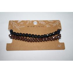 Armband 2 x zwart/bruin kralen