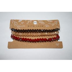 Armband 2 x rood/bruin kralen