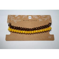 Armband 2 x bruin/geel kralen